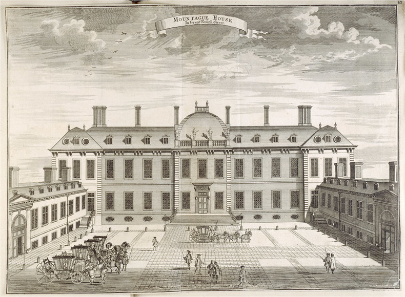Sutton Nicholls (fl. 1689–1729), Montague House. Etching and engraving, 1728.